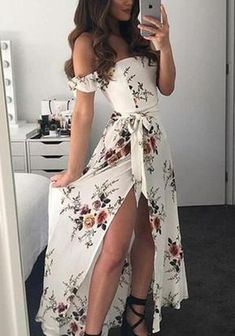 White Flowers Sashes Side Slit Off Shoulder Backless Flowy Bohemian . Read more The post White Flowers Sashes Side Slit Off Shoulder Backless Flowy Bohemian Party Maxi Dress appeared first on How To Be Trendy. Teen Fashion Outfits, Mode Outfits, Dress Outfits, Girl Outfits, Fashion Dresses, Fashion Hacks, Modest Fashion, Fashion Ideas, Fashion Tips
