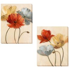 Nan 'Poppy Palette I and II' 2-piece Canvas Set | Overstock.com Shopping - The Best Deals on Canvas