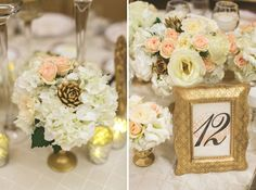 elegant 1920s wedding centerpieces blush and gold | Elegant Gold and Blush Wedding, gold painted pine cones for winter ...