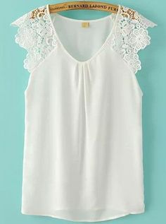 Super Cute and Comfy Summer Fashion! Perfect Top to wear with Jean Shorts! Pretty V-neck White Lace Chiffon Sleeveless Blouse Super Cute and Comfy Summer Fashion! Perfect Top to wear with Jean Shorts! Pretty V-neck White Lace Chiffon Sleeveless Blouse Spring Summer Fashion, Dress To Impress, White Lace, Cute Outfits, Style Inspiration, My Style, How To Wear, Clothes, Dresses