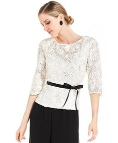 Alex Evenings Three-Quarter-Sleeve Sequined Lace Top In champagne, floral, with black, flowing chiffon pants MB Wedding Outfits For Groom, Alex Evenings, Evening Tops, Lace Tops, Dress Skirt, Ideias Fashion, Quarter Sleeve, Clothes For Women, Vintage