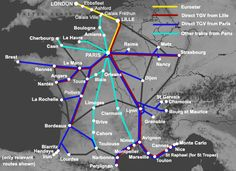 Trains from London to France Train Map, Train Route, Train Travel, France Train, Europe Train, Lyon France, South Of France, Strasbourg, Paris To Nice