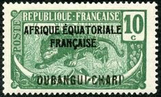 """Ubangi-Chari  1924 Scott 45 10c deep green & gray green """"Leopard"""" Color Type of Middle Congo of 1907-22, Overprinted in Black With Additional Overprint in Black"""