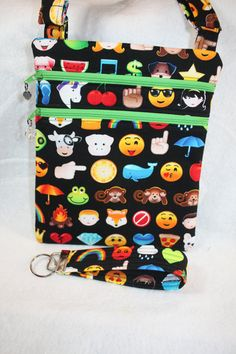 Handcrafted Crossbody Bag Emoji's   Adj by pamsprideembroidery
