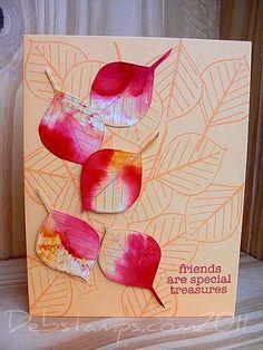 alcohol inked leaves debstamps.com