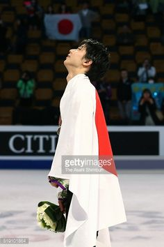 Silver medalist Yuzuru Hanyu reacts after the medal ceremony for the Men's Singles during day five of the ISU World Figure Skating Championships 2016...