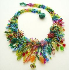 Beadweaving Tutorial No. 9 - Jungle Collar, Intermediate Beadweaving, Peyote Stitch Statement Necklace DIY Pattern Beadweaving Tutorial No . Beading Projects, Beading Tutorials, Beading Patterns, Embroidery Jewelry, Beaded Embroidery, Bead Crafts, Jewelry Crafts, Beaded Jewelry, Handmade Jewelry