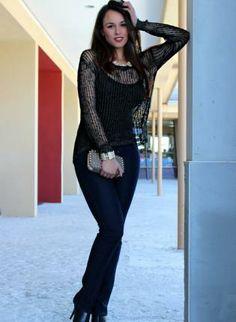 Black Sweater #jumper #metallic #knit #comfy