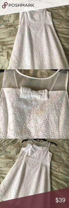 Lilly Pulitzer eyelet dress Lilly Pulitzer eyelet dress sheer top w/ bow ( tiney removable spot) Lilly Pulitzer Dresses