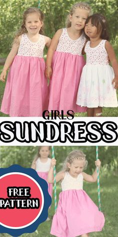 Happy JUNE! June means summer and summer means fun sundresses. I'm excited to once again be part of Melly Sews Sundresses series, and today I'm sharing this cute girls sundress tutorial with free printable tank pattern. I've used the girls tank free pattern and added a skirt, plus a couple other modifications to come up with this adorable girls sundress. Little Girl Dress Patterns, Summer Dress Patterns, Sewing Patterns For Kids, Dress Sewing Patterns, Little Girl Dresses, Sewing Ideas, Sewing Projects, Pdf Patterns, Sundress Tutorial