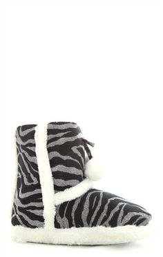 93c33e3a676eb Glitter Zebra Print Slipper Boot with Faux Fur Trim Slipper Boots