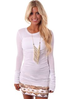 Lime Lush Boutique - White Solid Long Top , $36.99 (http://www.limelush.com/white-solid-long-top/)
