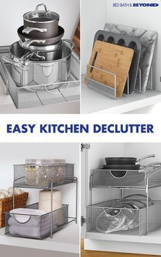 EASY KITCHEN DECLUTTER Whether you're cooking in your dream kitchen or trying to make do in a tiny one, there's a chance things get a little unorganized at times. These quick organization tricks will help you make the most out of your space so you'll spe Organisation Hacks, Kitchen Organization, Kitchen Storage, Organizing Tips, Bedroom Organization, Makeup Organization, Kitchen Pantry, Kitchen And Bath, New Kitchen