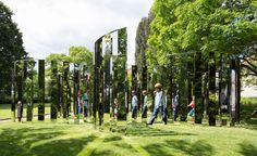 """By Jeppe Hein.  Semicircular Mirror Labyrinth II, Ordrupgaard Museum, Denmark.  Summer, 2015. From """"The great outdoors: this summer's most exhilarating installations"""" 