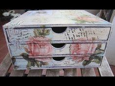 Como decorar una cajonera de madera con decoupage y decapado - conideade - YouTube