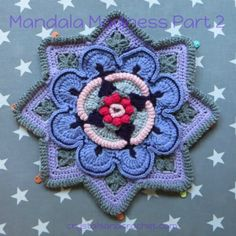 Mandala Madness Archives - Crystals & Crochet Crochet Mandala Pattern, Afghan Crochet Patterns, Crochet Squares, Knitting Patterns, Granny Squares, Crocheted Afghans, Crochet Blocks, Crochet Granny, Crochet Stitches