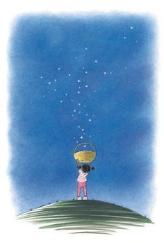 art, children, drawing, girl, illustration, sky, stars