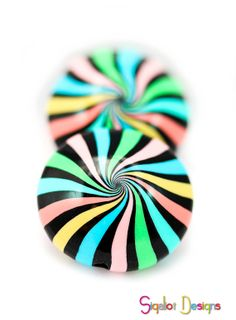 Swirl lentil beads - 2 Handmade polymer clay beads -swirled stripes - colorful striped lentil beads