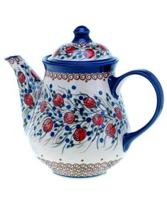 Wow love this pretty tea / coffee pot! Tee Kunst, Teapots And Cups, Tea Art, My Cup Of Tea, Polish Pottery, Chocolate Pots, Delft, Tea Time, Stoneware