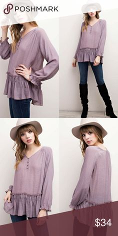 "Ruffled Hem Boho Top Long sleeve v-neckline button down with ruffled hem, bohemian inspired tunic top.        100% Rayon.     Color: Faded Plum.      Length: 28""-29""-30"".       Chest: 18""-19""-20"" Classic Paper Doll Tops Blouses"