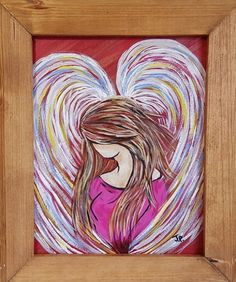 "PINK ANGEL FRAMED PAINTING ACRYLIC ON CANVAS 8"" x 10 "". free shipping"