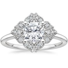 18K White Gold Windsor Diamond Ring ($1,350) ❤ liked on Polyvore featuring jewelry, rings, 18 karat ring, 18k jewelry, white gold jewellery, white gold rings and diamond jewelry