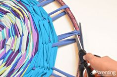 Hula hoop rug or weave for dreamcatcher.