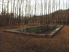 Old abandoned pool which in itself isn't that creepy, however it seems to be in the middle of nowhere which is creepy.