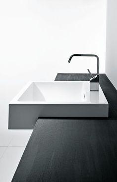 Minimalist Bathroom // modern white vanity sink and wood countertop // Mastella Design Terma Modern Sink, Modern Vanity, Modern Room, Bathroom Modern, Bathroom Ideas, Bathroom Pink, Bathroom Small, Bathroom Gadgets, Modern Bedrooms