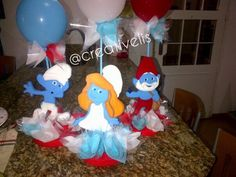 Centerpieces Smurf Party  Handmade by me