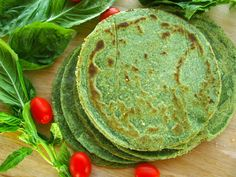 Grain Free Spinach Tortillas. (Gluten/Dairy/Corn/Soy/Egg Free)  yes please! 3 Tbs Whole Psyllium Husks, 1/2 Cup Hot water. 1/2 Cup Packed Thawed Spinach, 3 1/4  packed cups Blanched Almond Flour, 1/2 Cup Starch (Tapioca, Arrowroot or Potato Starch), 1/2 Tsp. Salt.   2.5 Tsp. Garlic Powder