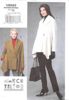 Loose-fitting jackets A, B have shawl collar, long sleeves and shaped hem. A…