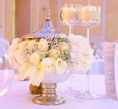 6. Roman Wedding,Roses decoration,White centerpiece / Rzymskie wesele,Dekoracje stołów,Anioły Przyjęć