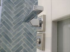 Herringbone feature wall & chrome door handle by MiD Chrome Door Handles, Herringbone, Wall Lights, Interiors, Doors, Interior Design, Home Decor, Nest Design, Appliques