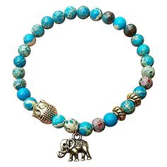 My Lucky Elephant Buddha Jasper Stretch Bracelet Tibetan Natural Turquoise Stones *** You can get more details by clicking on the image.
