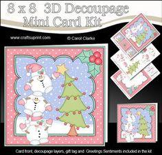 8x8 Christmas Snowball Sam Dressing the Tree 3D Decoupage