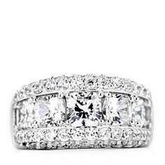 Diamonique 5.8ct tw Cushion Cut Band Ring Sterling Silver