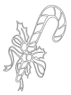 Simple Candy Cane Coloring Pages