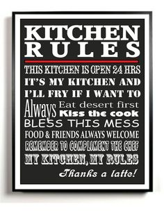 Kitchen Art Print, Subway Art, Kitchen Rules, Custom Colors, Digital File,
