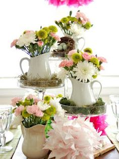 Pretty Mothers Day Centerpiece-My mom would like this...she likes little pitchers and so do I!