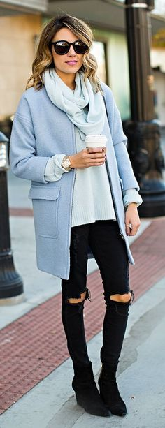 Daily New Fashion : Hello Fashion - Powder Blue Cashmere Sweater, Wool Cocoon Coat, Black Distressed Jeans and Black Booties.