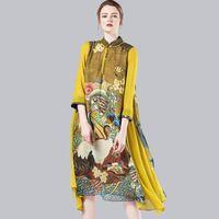 Весна и лето мода высокое качество шелк - цельный платье три четверти рукав средней длины шелковое платье