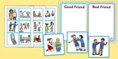 Good Friend Discussion and Sorting Cards - lovely set of cards to encourge circle time discussion about friendship.