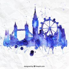Pintados à mão horizonte de Londres