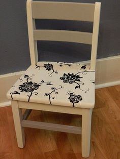 Hometalk :: Adventures in Chalk paint: free hand painted child's chair.  Could use stencils for this too.