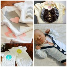 20 DIY Onesie Crafts | Perfect for Baby Shower gifts! That cardigan is so cute