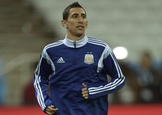 Argentina's midfielder Angel Di Maria takes part in a training session at the Arena de Sao Paulo Stadium, on July 08, on the eve of the 2014 FIFA World Cup semi-final against Netherlands.