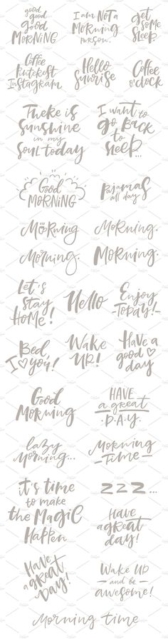 Morning Lettering Set - Illustrations brushlettering / qoute / motivation / Handlettering / lettering / typography / brushtype / designinspiration / goodletters  / handmadefont / moderncalligraphy / calligratype / calligraphy