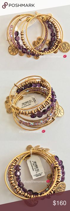 🔮🆕 ❉ Alex + Ani ❉ 7 Bangle Set ❉ Amethyst  ❉ Alex and Ani 7 Bangle Bracelet Set in Russian Gold + Amethyst Brand New with Tags  🔮🔮🔮🔮🔮🔮🔮🔮🔮🔮🔮🔮  Russian gold bracelet set with sparkly amethyst beaded bracelets.   Gold seed bead bangle Amethyst stone bangle Amethyst seed bead bangle 8 pointed star charm bangle Love charm bangle 2 plain gold bangles  Gorgeous energy set gives you good vibes as you stylishly wear it on your delicate wrist.   🔮🔮🔮🔮🔮🔮🔮🔮🔮🔮🔮🔮  ✗ Drama ✗ Trades…