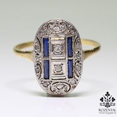 Vintage Jewelry You are going to buy this? Vintage Jewelry Antique Art Deco Platinum Diamond & Sapphire Ring Make it a double. Art Deco Ring, Art Deco Diamond, Art Deco Jewelry, Jewelry Rings, Fine Jewelry, Jewelry Design, Jewlery, Pandora Jewelry, Antique Rings